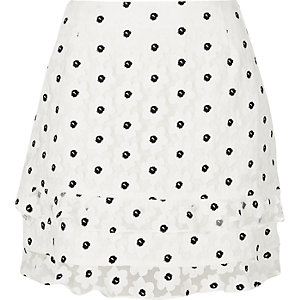 White floral print frilly mini skirt