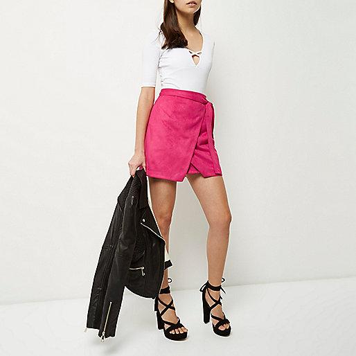 Pink faux suede wrap mini skirt - skirts - sale - women