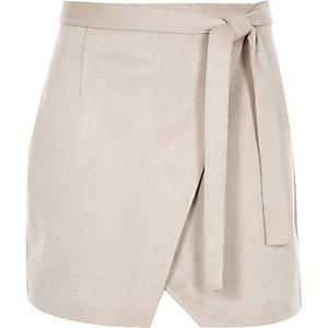 Grey faux suede wrap mini skirt