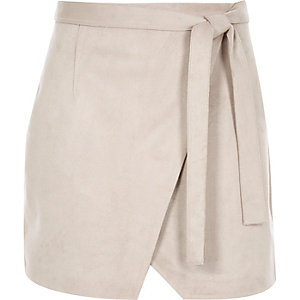 Grey faux suede wrap mini skirt