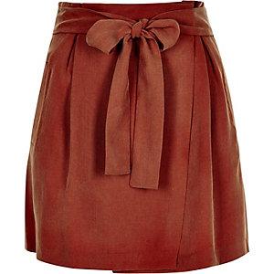 Rust tied waist mini skirt