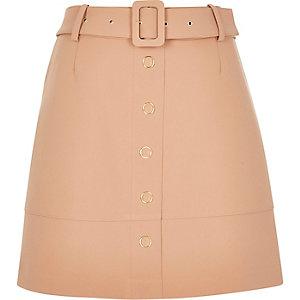 Camel brown button-up A-line skirt