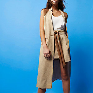 RI Studio beige wrap layered skirt