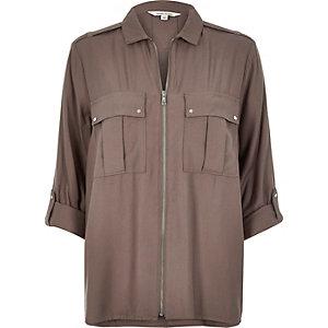 Grey zip shirt