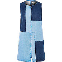 Blue patchwork denim dress