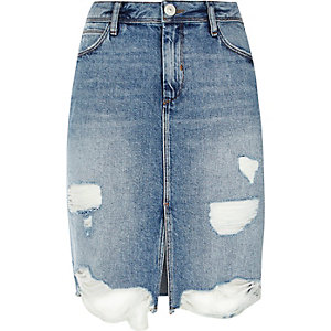 Light blue wash ripped denim midi skirt