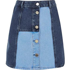 Blue patchwork denim skirt