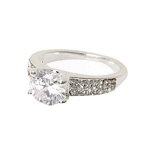 Silver tone encrusted gem ring