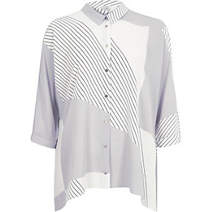 Grey printed hanky hem shirt