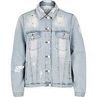 Blue distressed oversized denim jacket