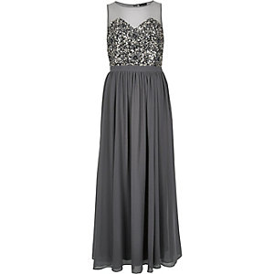 Grey embellished maxi dress