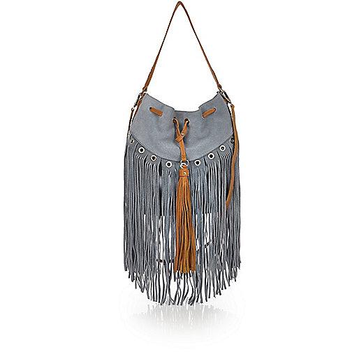 Blue suede fringe duffle handbag
