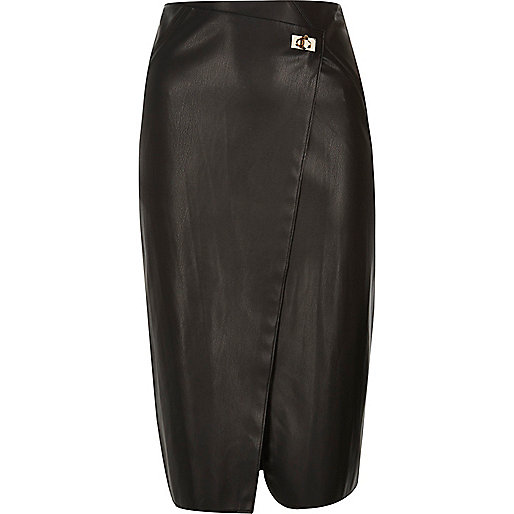 Black clasp wrap midi skirt