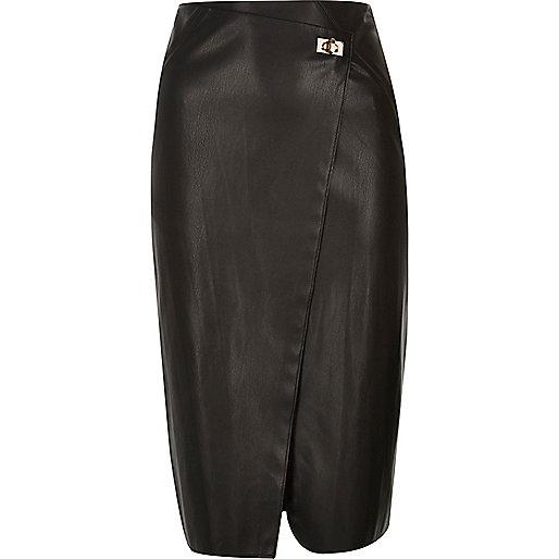 Jupe mi-longue noire coupe portefeuille fermoir clip