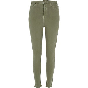 Khaki washed high rise Molly jeggings