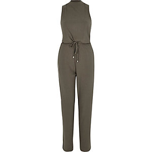Khaki ribbed turtle neck jumpsuit