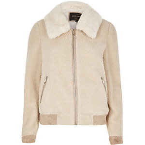 Cream fleece bomber jacket