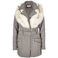Grey faux fur collar padded coat