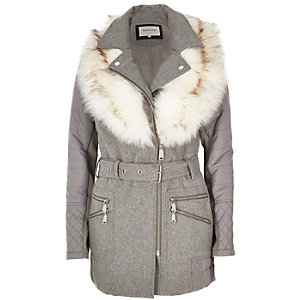 Grey faux fur collar padded coat