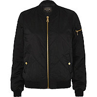 Black quilted satin bomber jacket