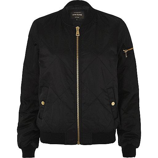 Black quilted satin bomber jacket