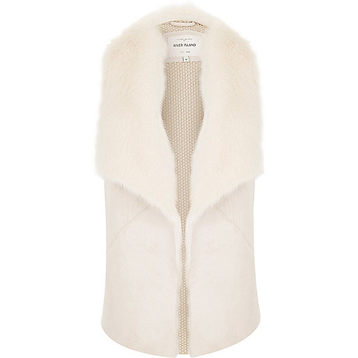 Cream faux fur collar vest