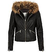 Black double collar biker jacket