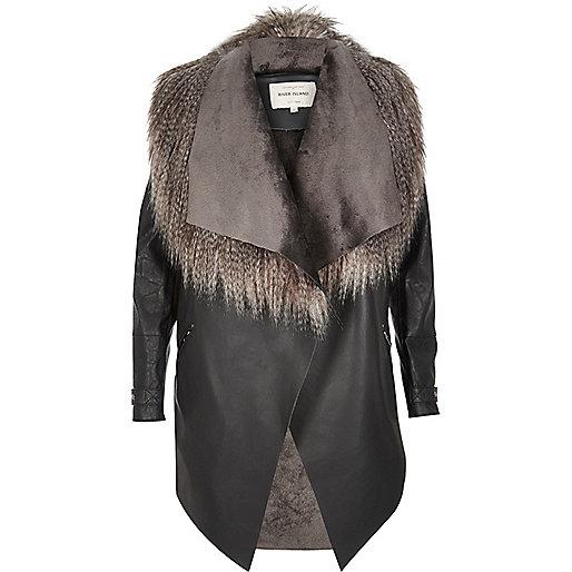 Dark grey lightweight fallaway coat