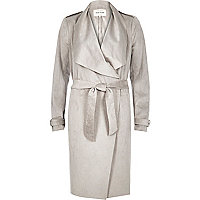 Silver grey lightweight trench coat