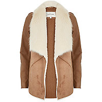 Tan faux fur collar jacket