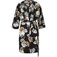 Black floral print belted kimono