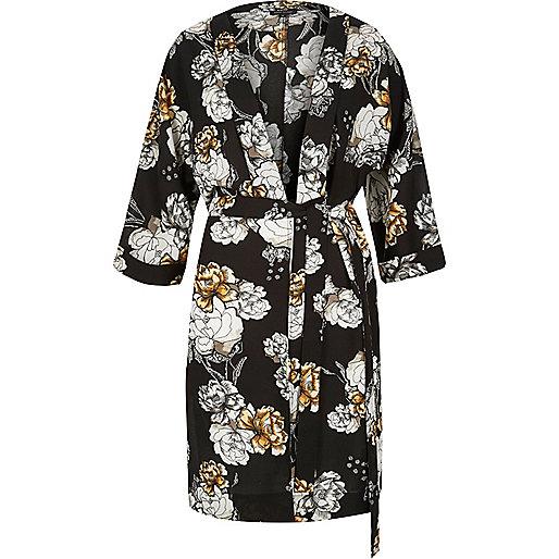 Kimono imprimé fleuri noir à ceinture