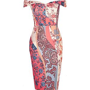 RI Plus pink floral print bardot dress