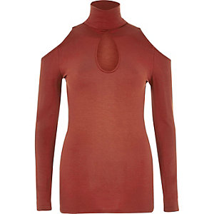 Red cold shoulder turtle neck top