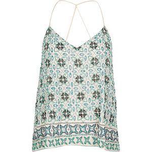 Turquoise embellished cami