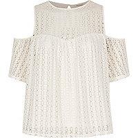 Cream cold shoulder lace top