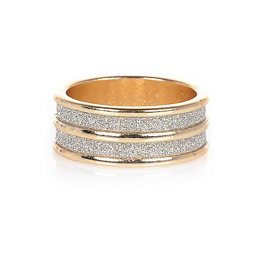 Gold tone double row glitter ring