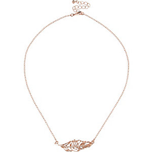 Rose gold tone feather necklace