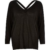 Black knitted V-neck cross back sweater