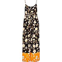 Black print cami maxi dress