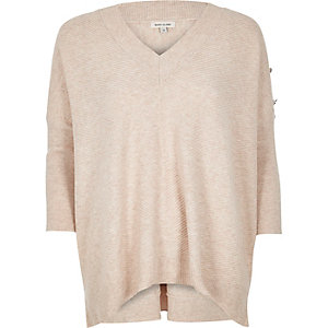 Nude boxy knit sweater