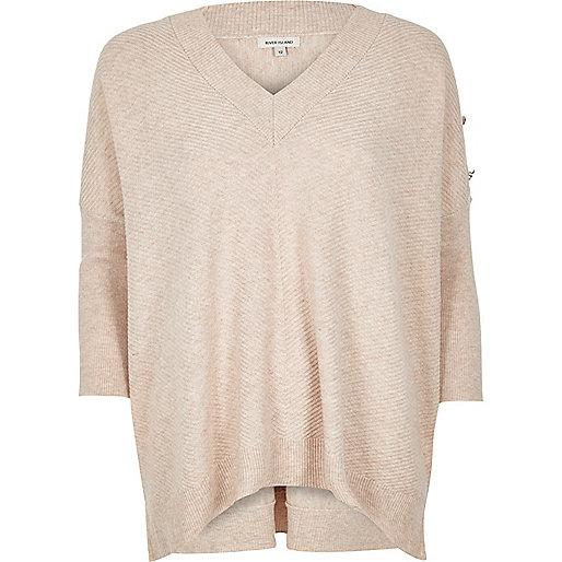 Nude boxy knit sweater