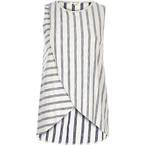 Blue stripe wrap front top