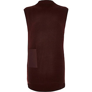 Burgundy sleeveless tabbard top
