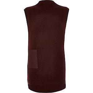 Dark red sleeveless tabbard top
