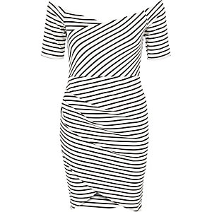 Black stripe bardot bodycon dress