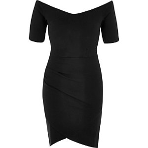 Black bardot bodycon dress