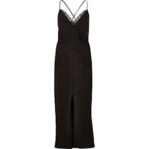 Black lace slip maxi dress