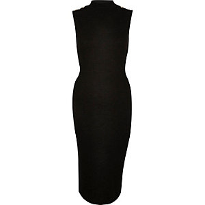 Black button bodycon dress
