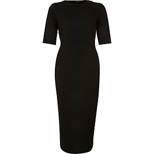 Black button sleeve bodycon dress